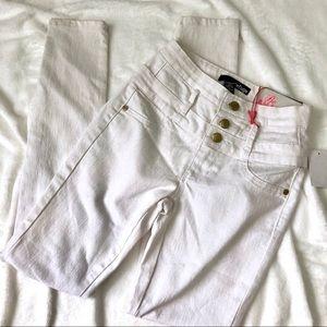 White high waisted super skinny denim jeans 0
